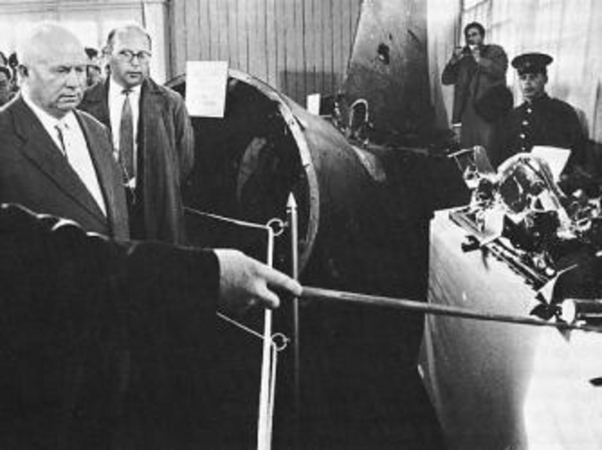 Nikita Khrushchev examining the wreckage of the U-2 plane.