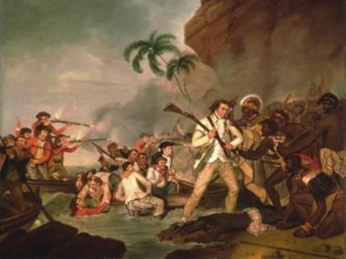 Painting depicting Cook's death in Hawaii.