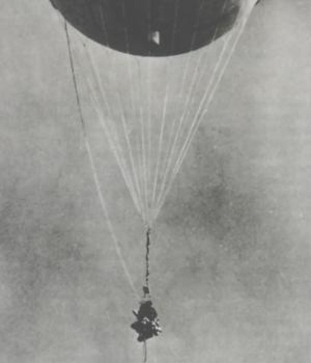 Japanese fire balloon reinflated at Moffett Field, California, after it had been shot down by a Navy aircraft January 10, 1945.