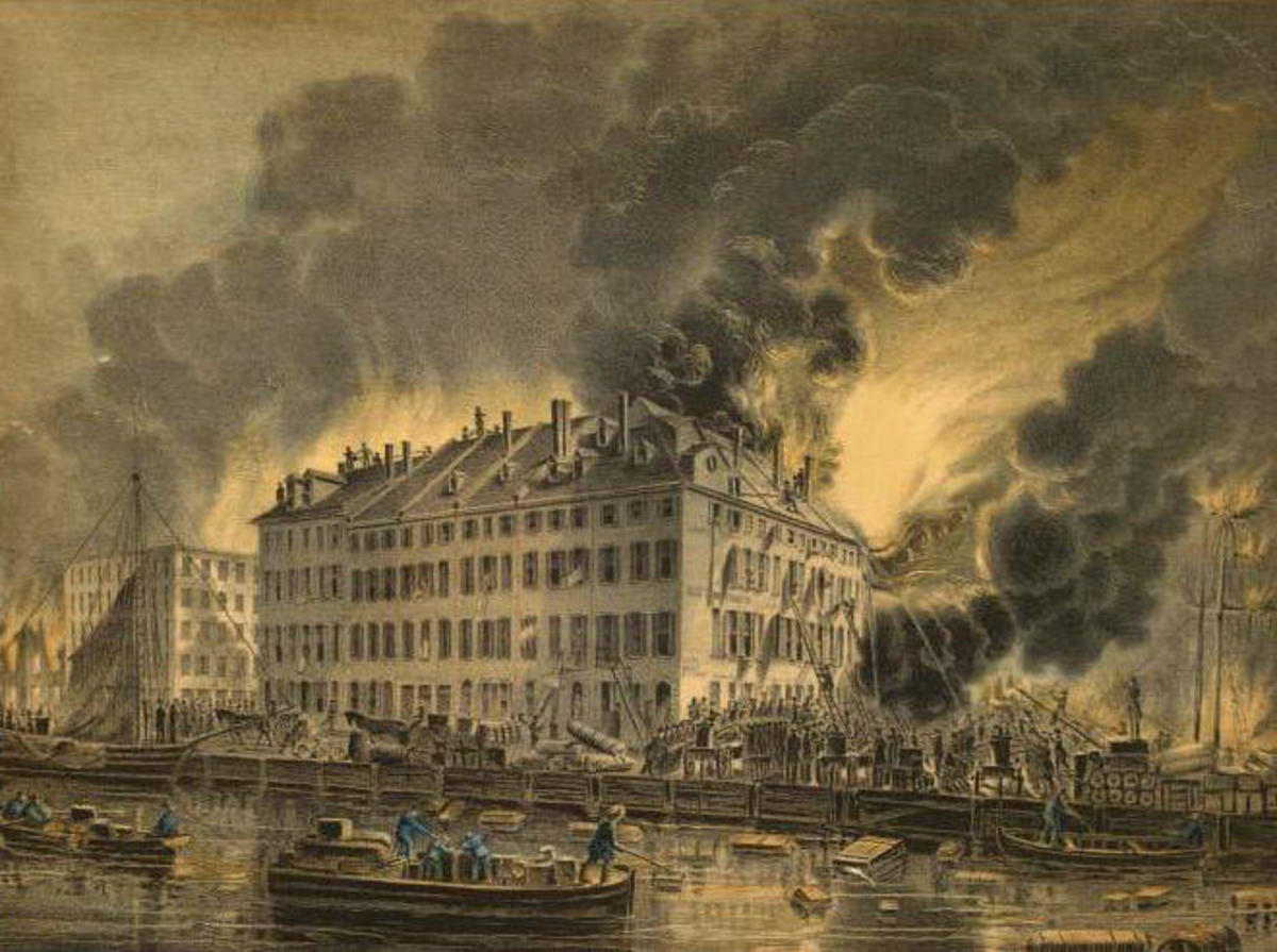 View of the Great Conflagration, 1835. (Credit: The New York Public Library