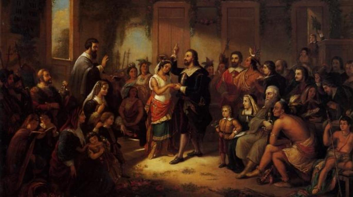 Settlers from the Jamestown colony appear in this 1855 painting depicting the wedding of Pocahontas and John Rolfe.