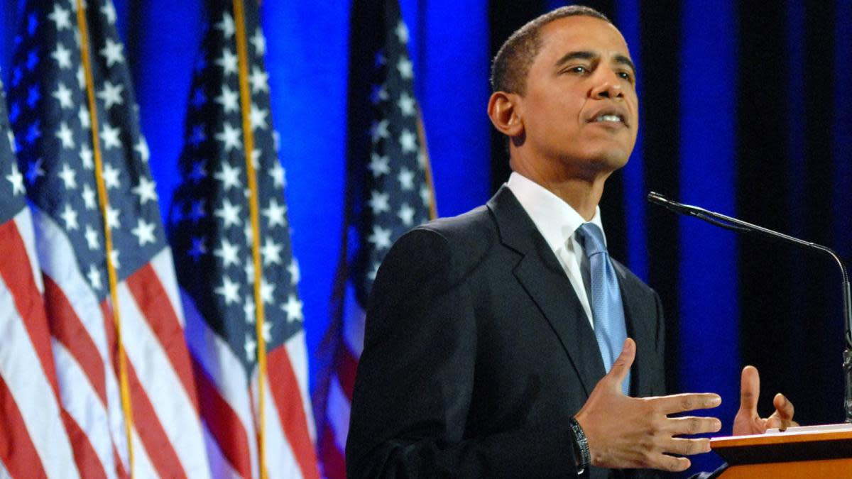 Former President Barack Obama speaking during a major address on race and politics at the National Constitution Center in Philadelphia, Pennsylvania. (Credit: William Thomas Cain/Getty Images)