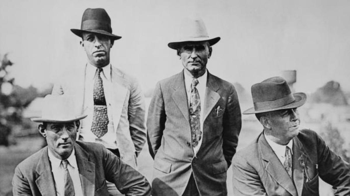 Frank Hamer (far right) and three other members of the posse who ambushed and killed Clyde Barrow and Bonnie Parker.