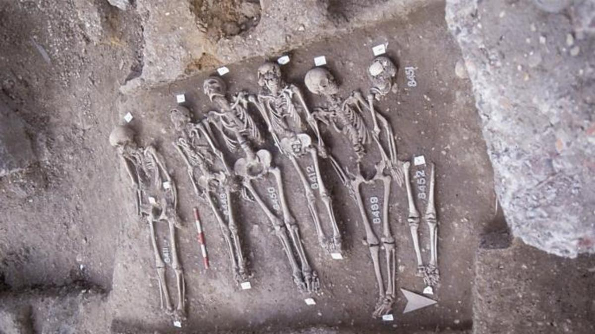 "Researchers analyzed skeletal remains from London's East Smithfield ""plague pits,"" a burial ground created specifically for Black Death victims in 1348 or 1349."
