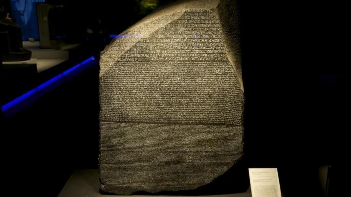 Replica of the Rosetta Stone on display in Spain.