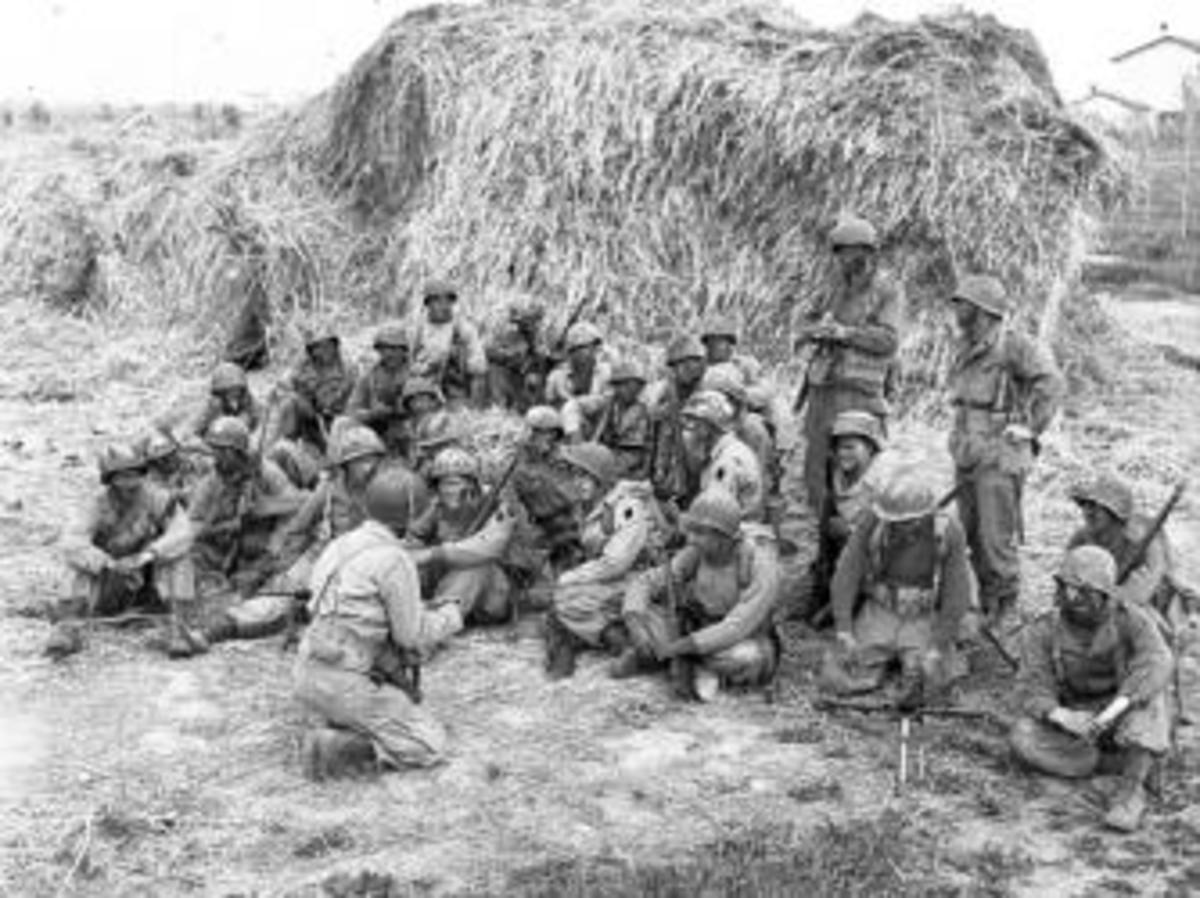"""Devil's Brigade"" members being briefed at Anzio, April 1944."