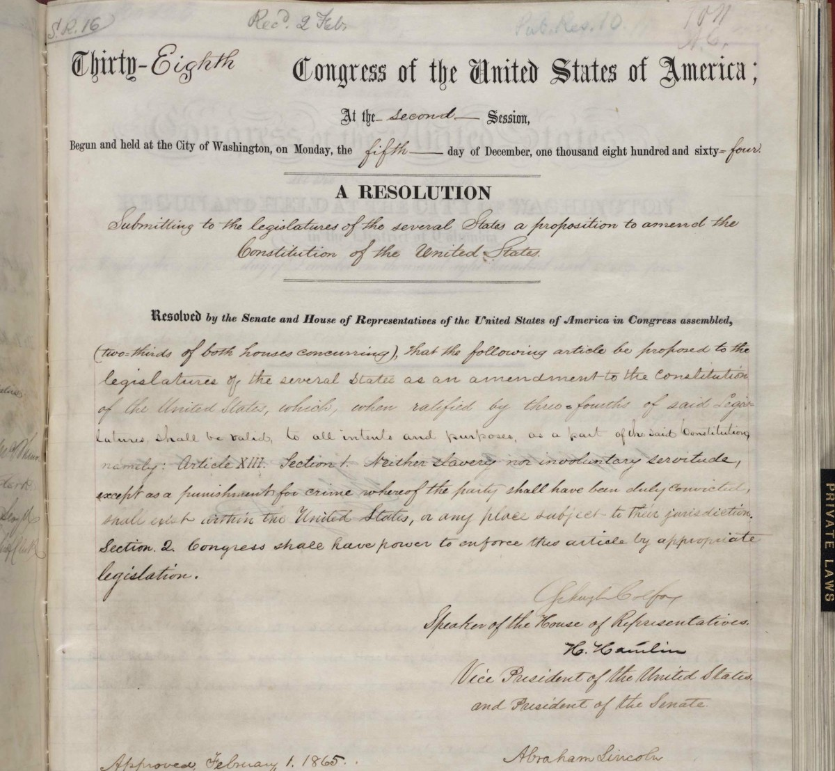 congress passes 13th amendment, 150 years ago - history