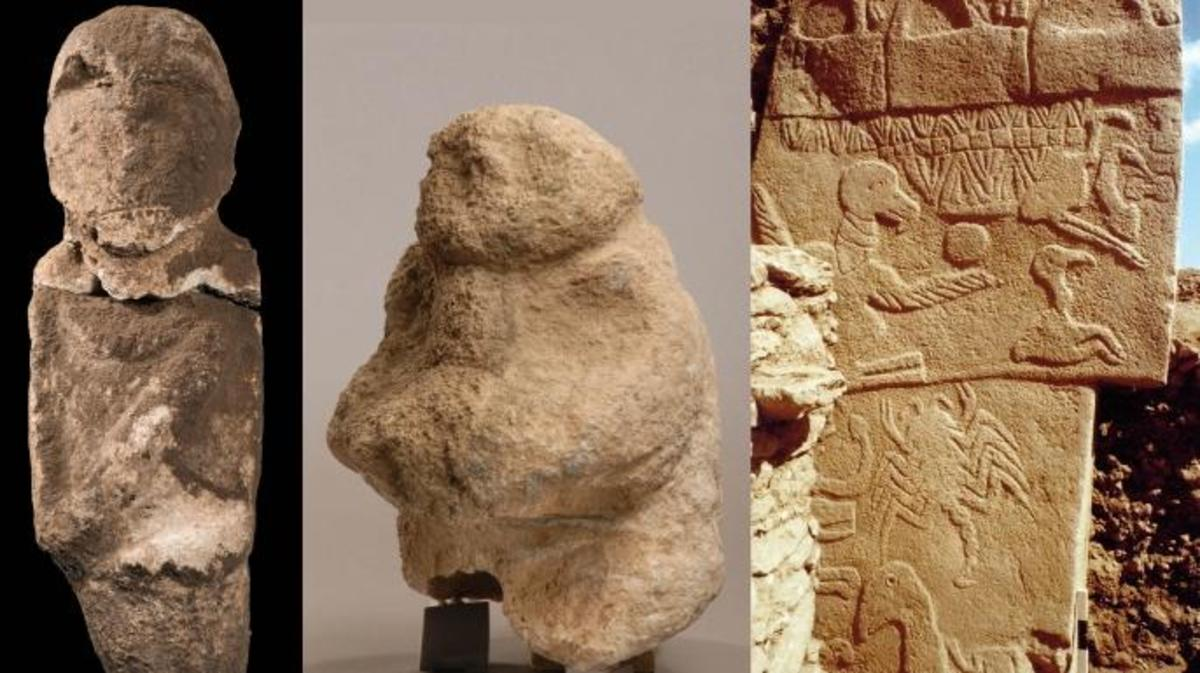 Anthropomorphic depictions from Göbekli Tepe. (A) Intentionally decapitated human statue; (B) The gift bearer holds in his hands a human head; (C) Pillar 43 with low relief of an ithyphallic headless individual. (Credit: Dieter Johannes, Klaus Schmidt and Nico Becker/Göbekli Tepe Archive/German Archaeological Institute, DAI)