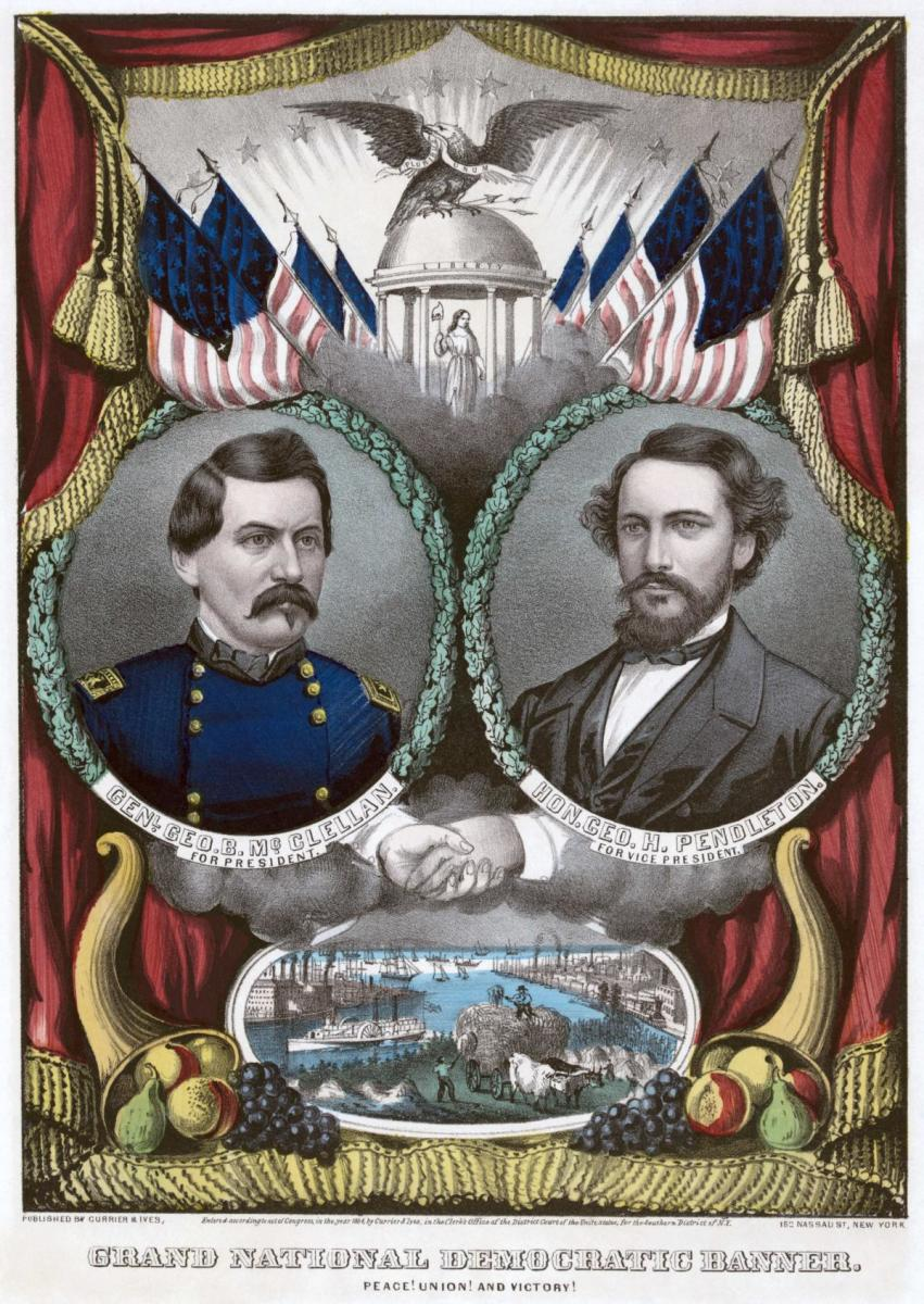Campaign poster depicting the Democratic ticket led by George McClellan