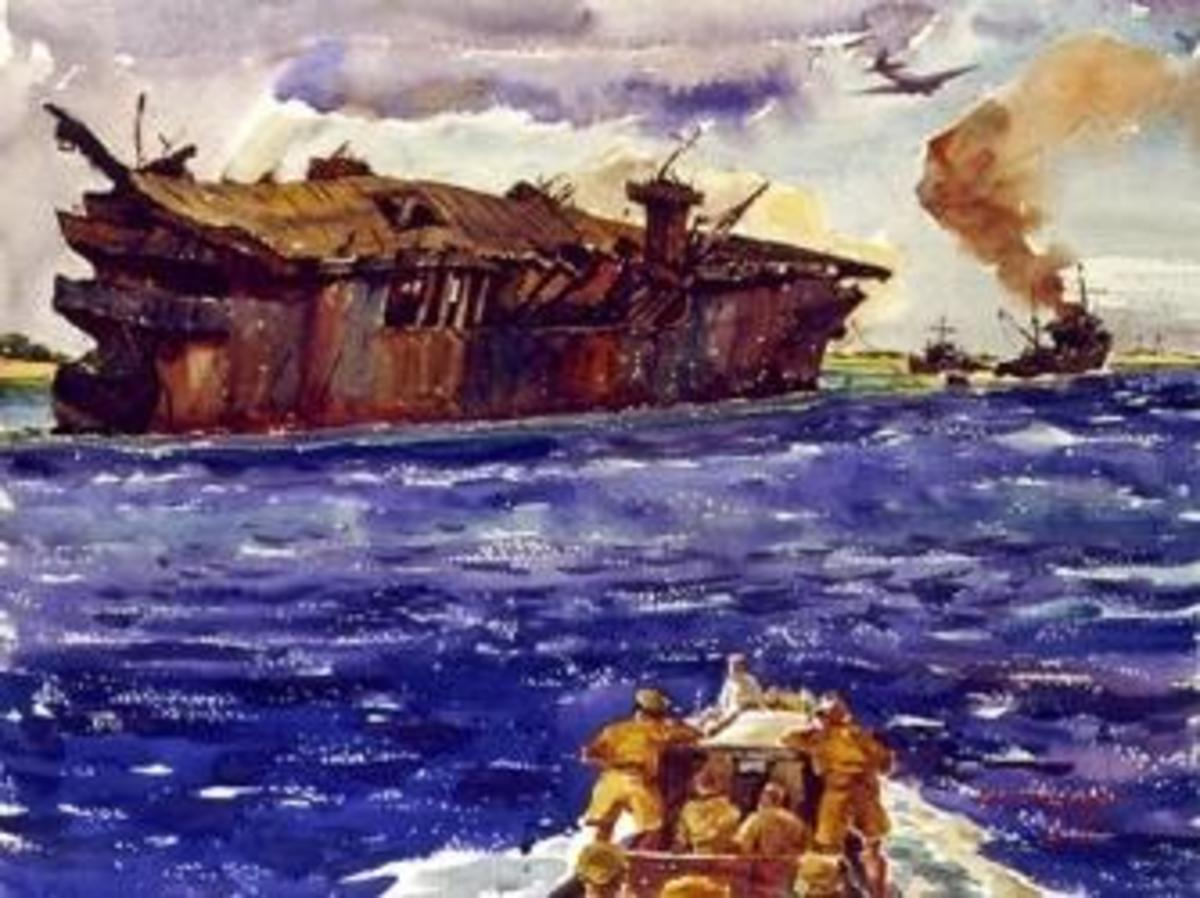 Painting of USS Independence being towed to shallow waters during the Operation Crossroads tests. (Credit: Naval History and Heritage Command)