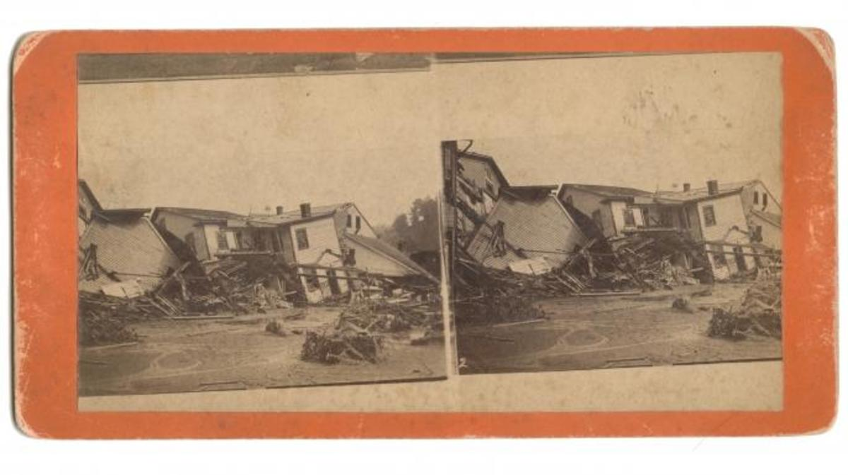 Stereoscopic view showing debris, collapsed houses, and the general disastrous condition of Main Street in Johnstown, Pennyslvania soon after the flood, 1889. After heavy rains, the South Fork Dam burst and the waters of Lake Conemaugh flooded the town. (Credit: EE Murray & Co/Interim Archives/Getty Images)
