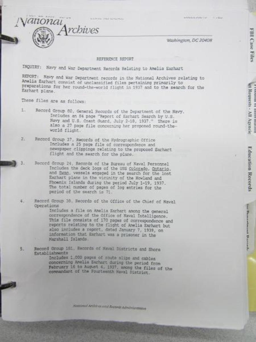 Office of Naval Intelligence document from the National Archives, referencing Earhart's possibly being a prisoner on the Marshall Islands.