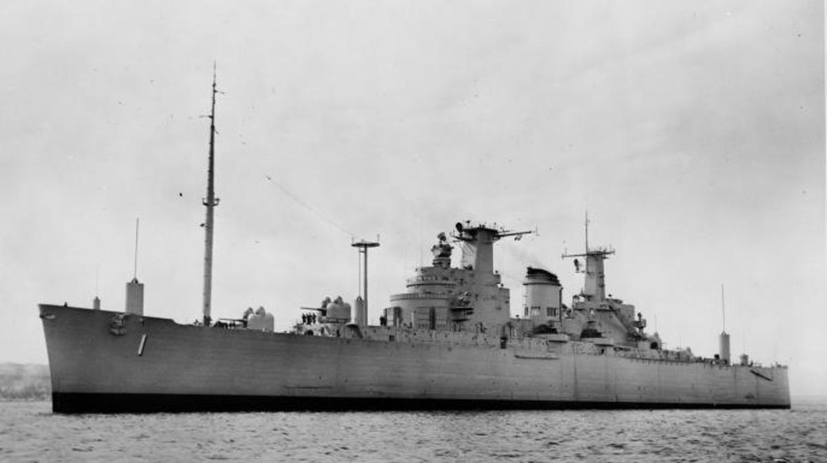 USS Northampton (CLC-1) off Boston in 1953 (Credit: PJF Military Collection / Alamy Stock Photo)