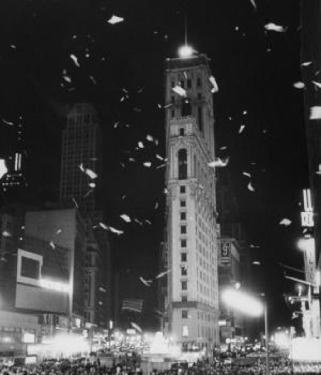 Crowds of people gather in Times Square to celebrate New Year's Eve. (Credit: Truman Moore/The LIFE Images Collection/Getty Images)