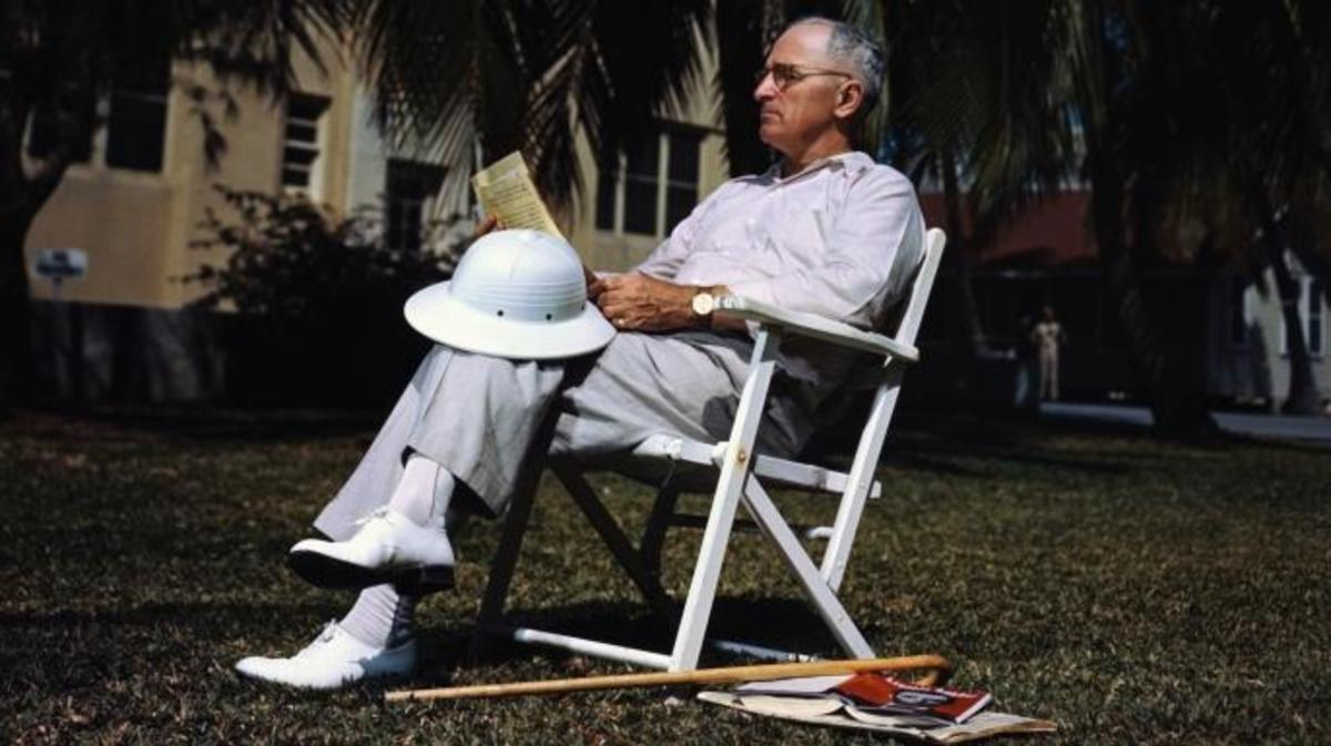 President Harry S. Truman is shown resting in the sunshine at Key West in Florida. (Credit: Bettmann / Contributor)