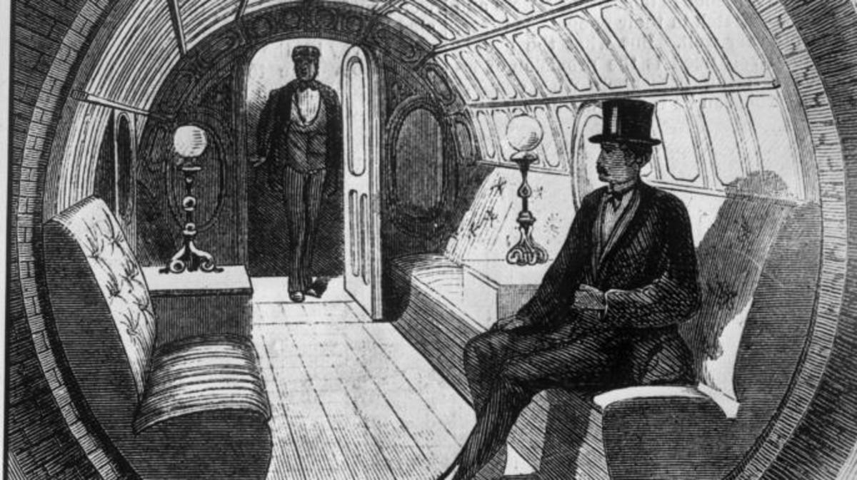 Illustration of the subway car on the pneumatic train.