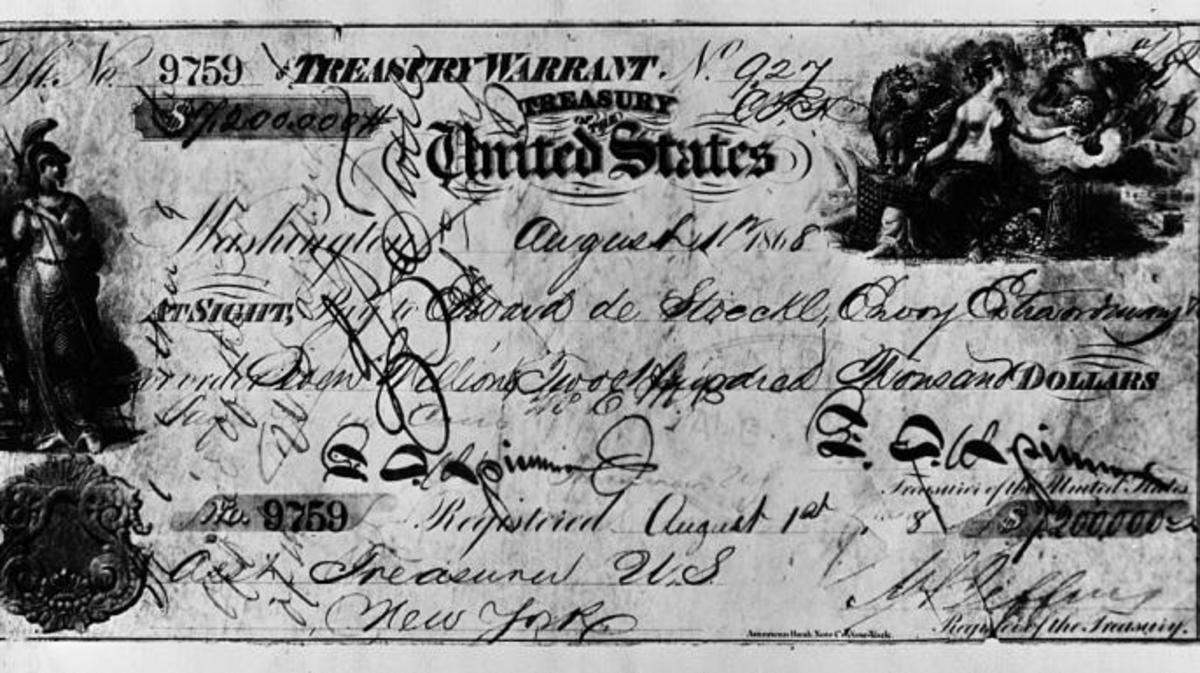 Image of the $7,200,000 check from the United States to Russia for purchasing Alaska