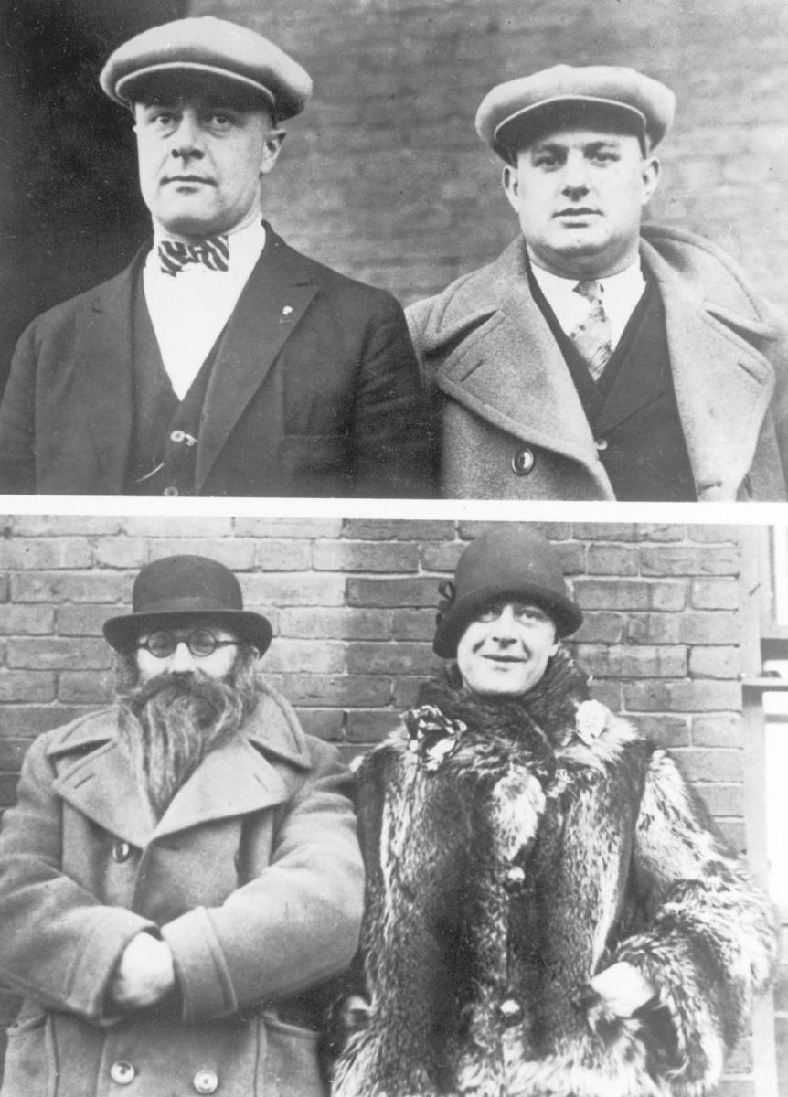 Moe Smith (on left in top picture, on right in the bottom one) and Izzy Einstein shown in disguises they used to infiltrate speakeasies. (Credit: Underwood and Underwood/The LIFE Picture Collection/Getty Images)