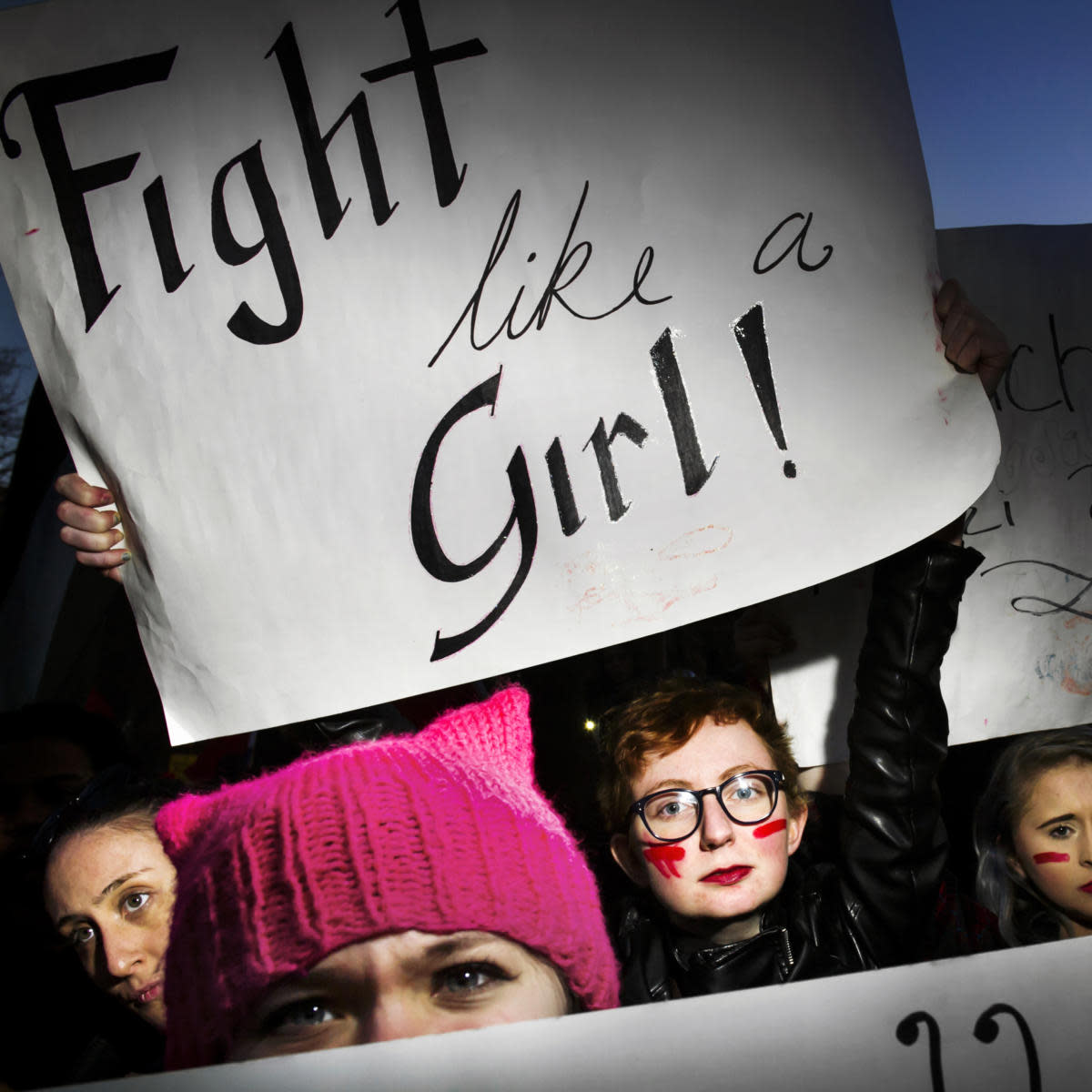 Demonstrators for the women's strike during International Women's Day, in NYC on March 8, 2017. (Credit: Dina Litovsky/Redux)