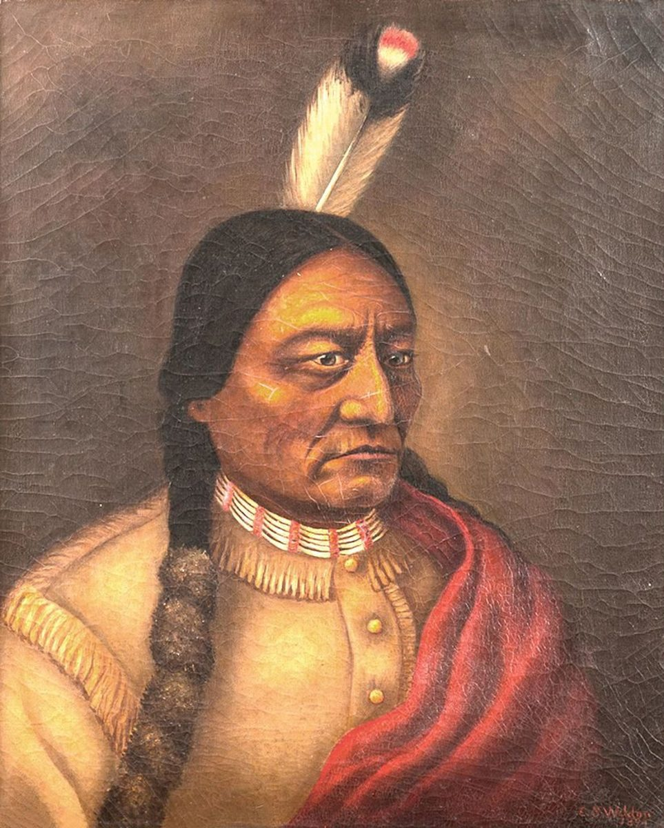 A portrait of Sitting Bull, painted by Caroline Weldon. (Credit: Daniel Guggisberg/CC BY-SA 4.0)