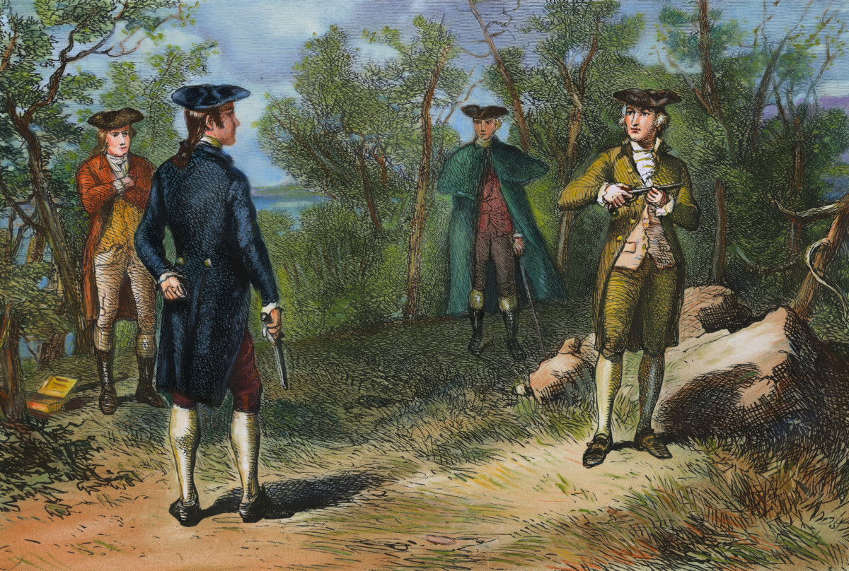 Alexander Hamilton's duel with Aaron Burr at Weehawken, New Jersey, July 11, 1804.
