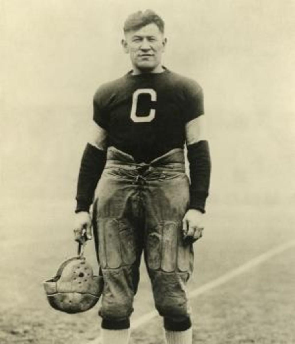Jim Thorpe, first president of the APFA, during his playing days with the Canton Bulldogs.
