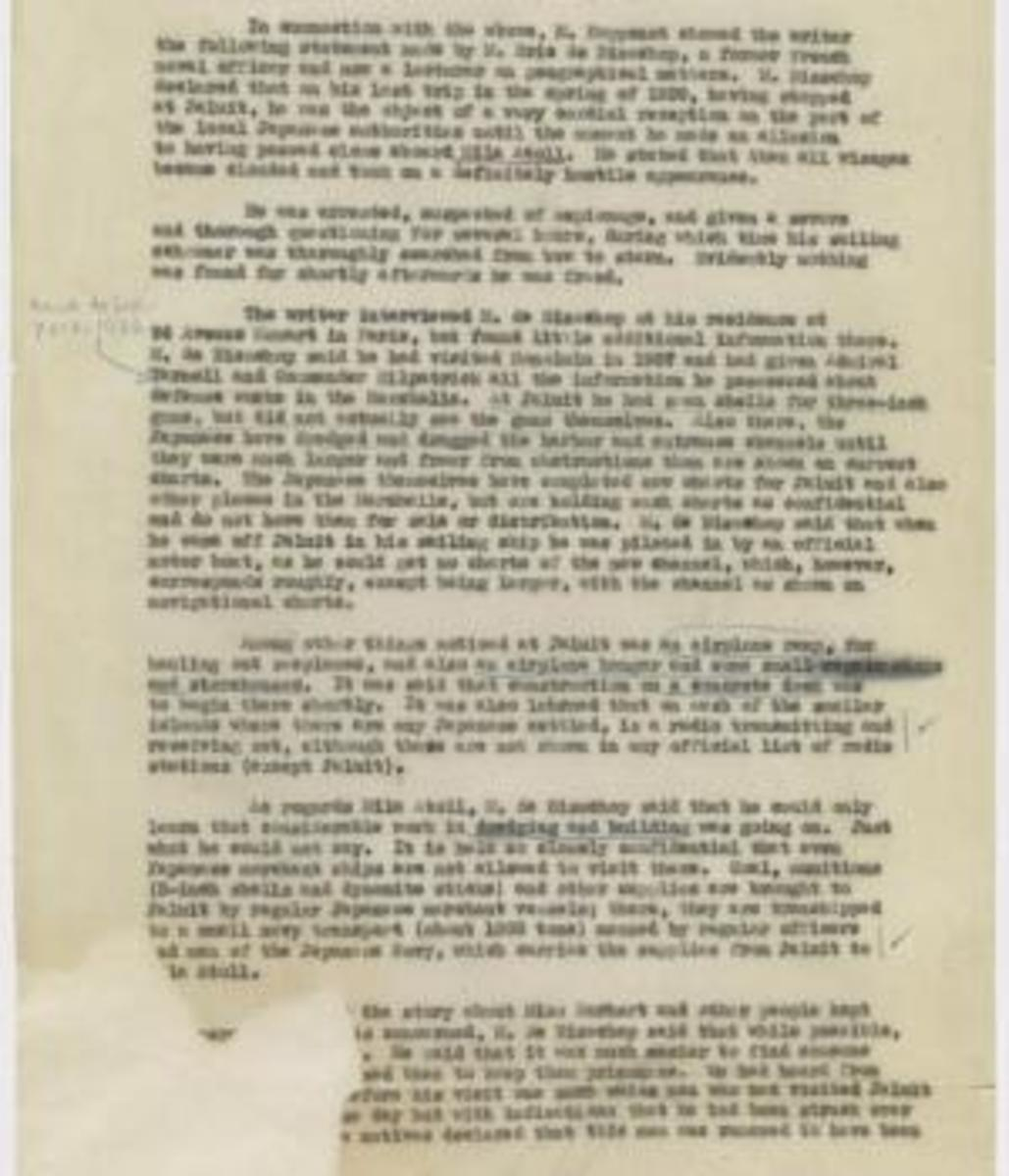 Page 2 of report, dated January 7, 1939, from the records of the Office of the Chief of Naval Operations. This document provides information that Earhart was a prisoner in the Marshall Islands. (Credit: National Archives)