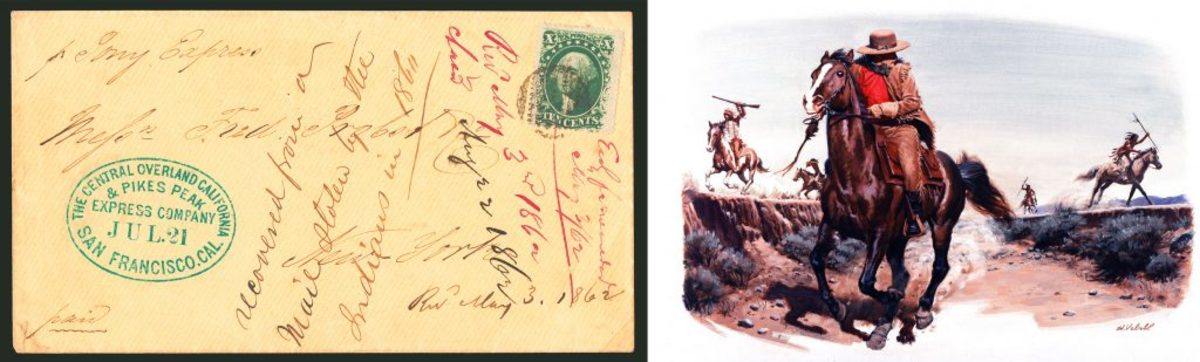 Stolen Pony Express mail (courtesy of Siegel Auction Gallery); A Pony Express rider being chased by Native Americans. (Credit: Ed Vebell/Getty Images)