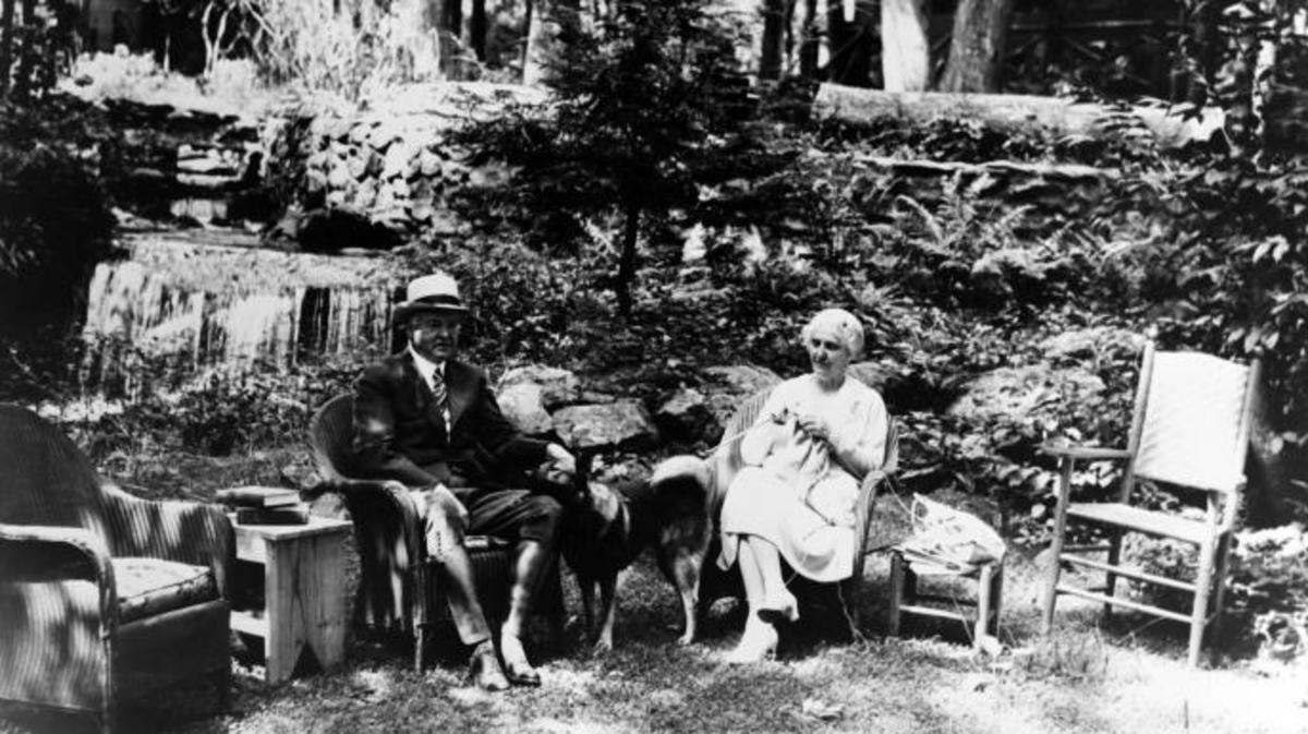 American president Herbert Hoover with wife Lou Henry Hoover in their summer retreat of Rapidan Camp, in Virginia in August 1932 in United States. (Credit: Gamma-Keystone/Getty Images)