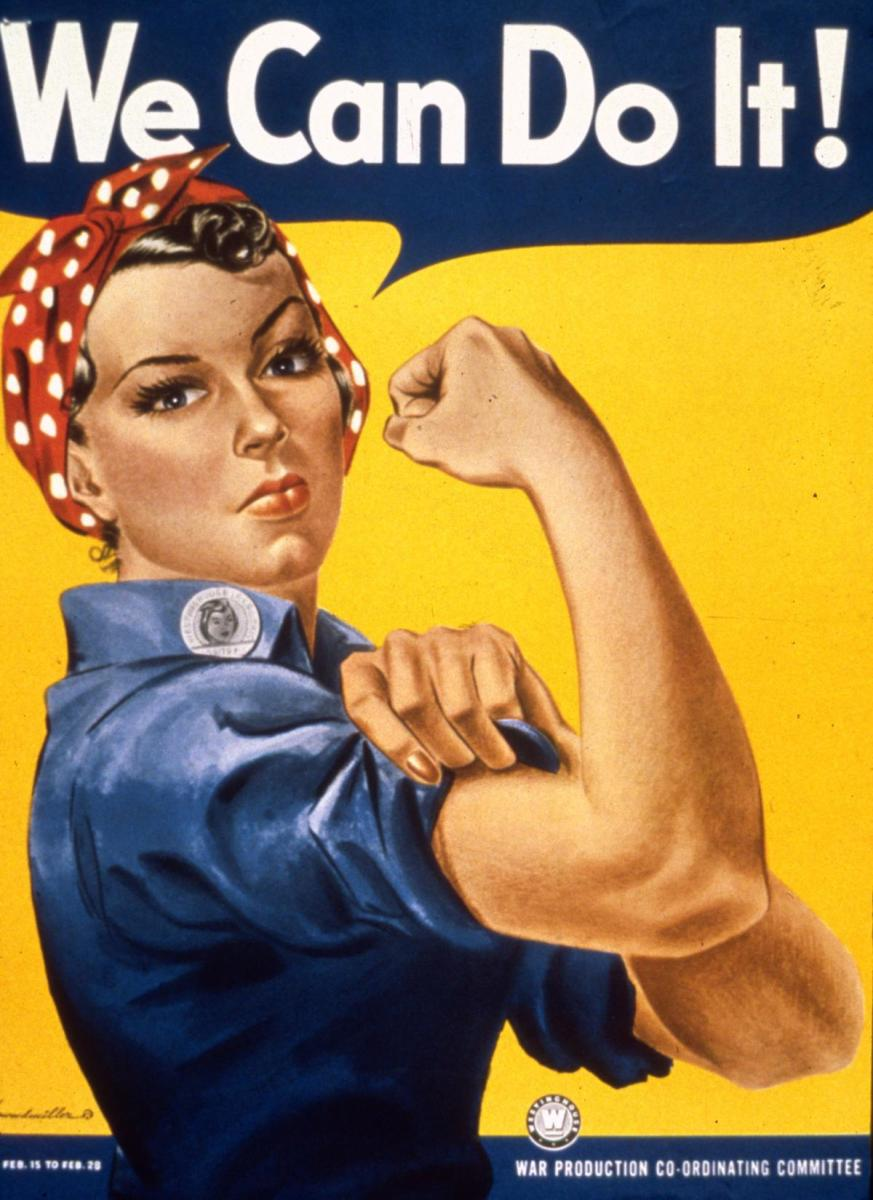 J. Howard Miller's 'We Can Do It!' poster for Westinghouse Electric, aimed at boosting morale among the company's workers in the war effort later associated with 'Rosie the Riveter', the wartime personification of a strong female war production worker. (Credit: MPI/Getty Images)