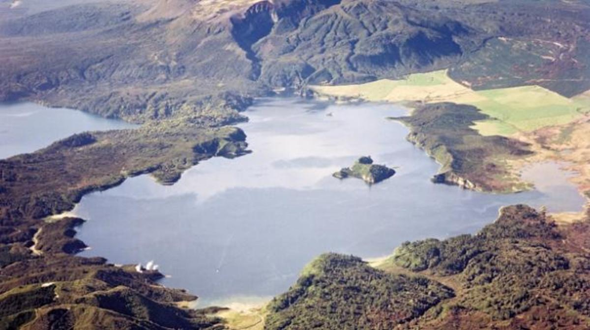 Aerial view of Lake Rotomahana with Mt. Tarawera in the background. (