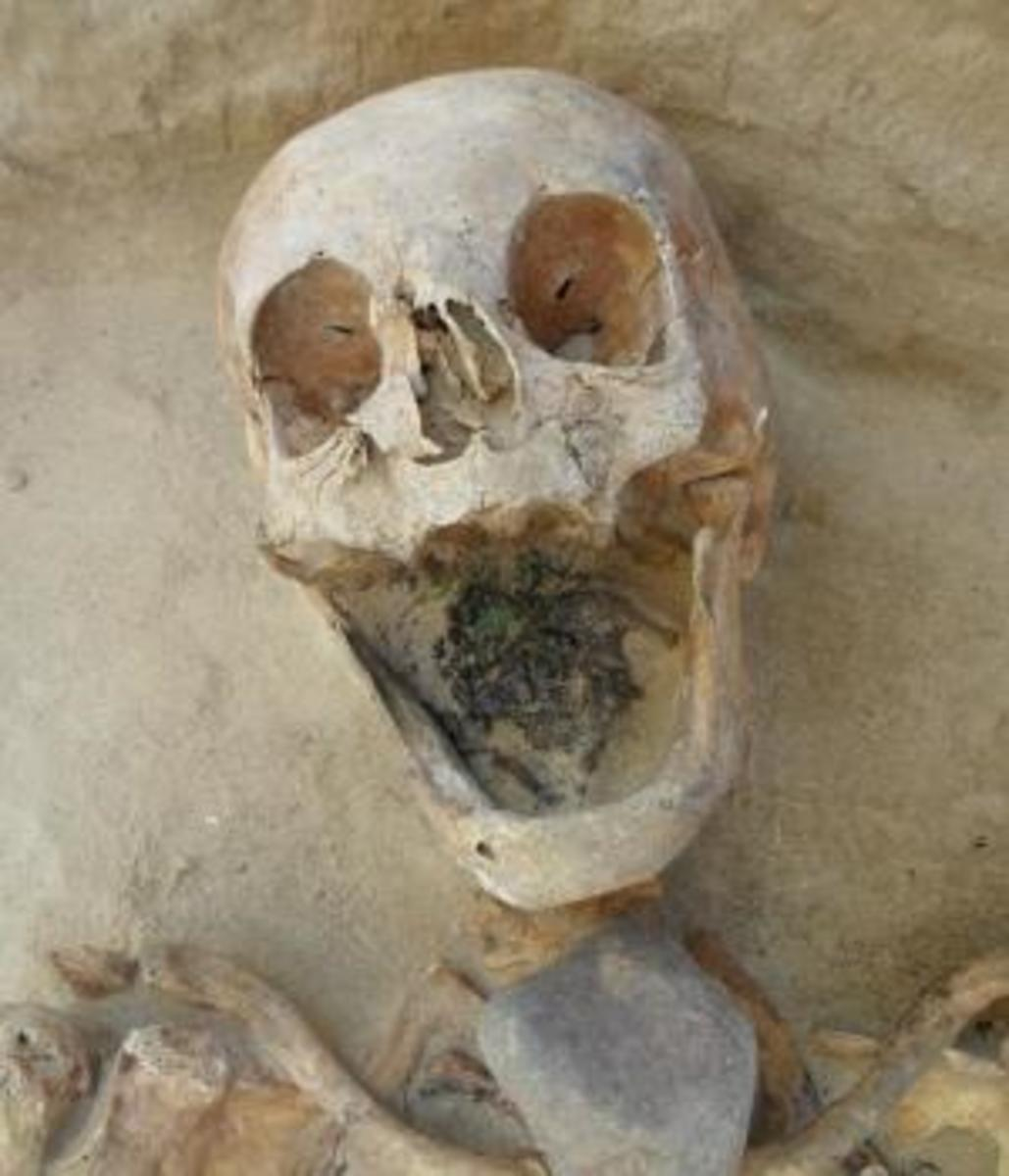 Another female skeleton, this one with a stone placed on her throat (Credit: Amy Scott/Gregoricka)