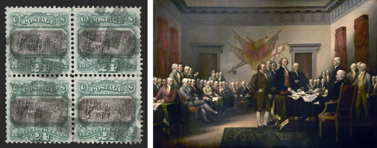 Inverted 1869 pictorial stamp (courtesy of Siegel Auction Gallery); The Signing of the Declaration of Independence, by John Trumball. (Credit: GraphicaArtis/Getty Images)
