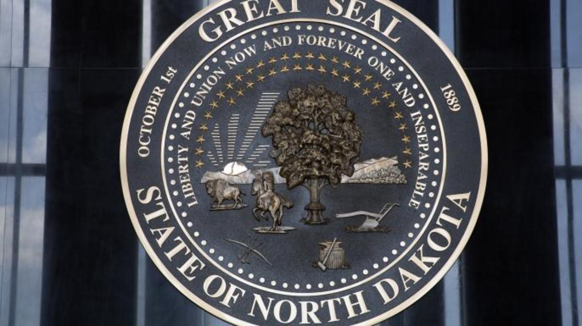 North Dakota State Seal in Memorial Hall. (Credit: Richard Cummins/Getty Images)