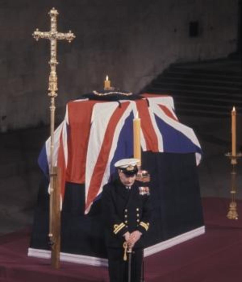Churchill lying in state in Westminster Hall, part of the Houses of Parliament