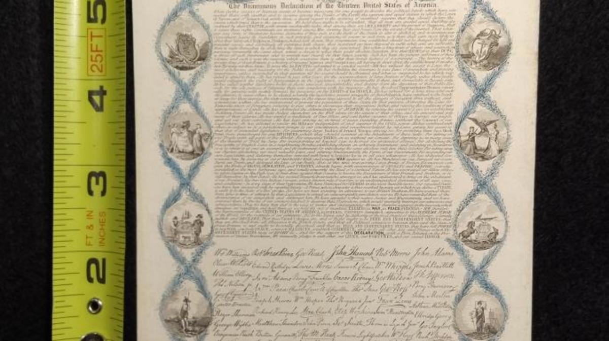 Engraving of the Declaration of Independence by L.H. Brigham, 1836. (Credit: Danielle Allen)