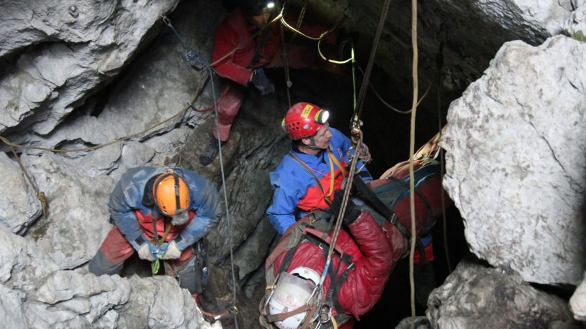 Rescue workers bring Johann Westhauser to the surface during the final phase of his rescue on June 19, 2014. (Photo by Bergwacht Bayern via Getty Images)