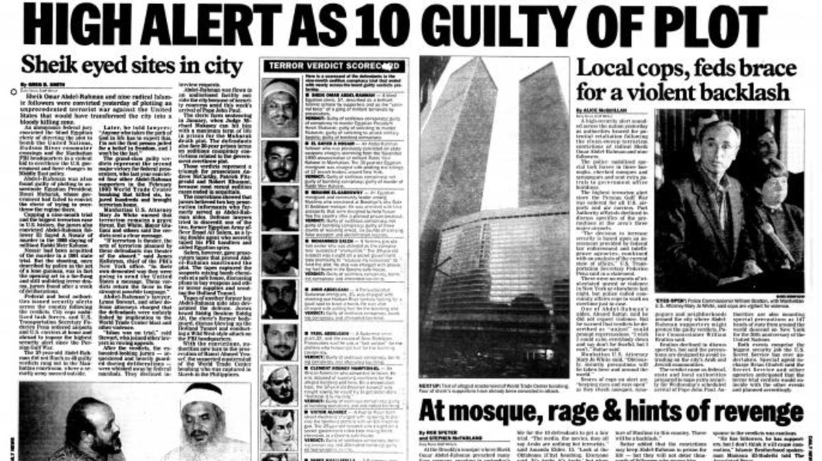 October 1995 NY Daily News' headlines on the conviction of Sheik Omar Abdel-Rahman and others in the bombing
