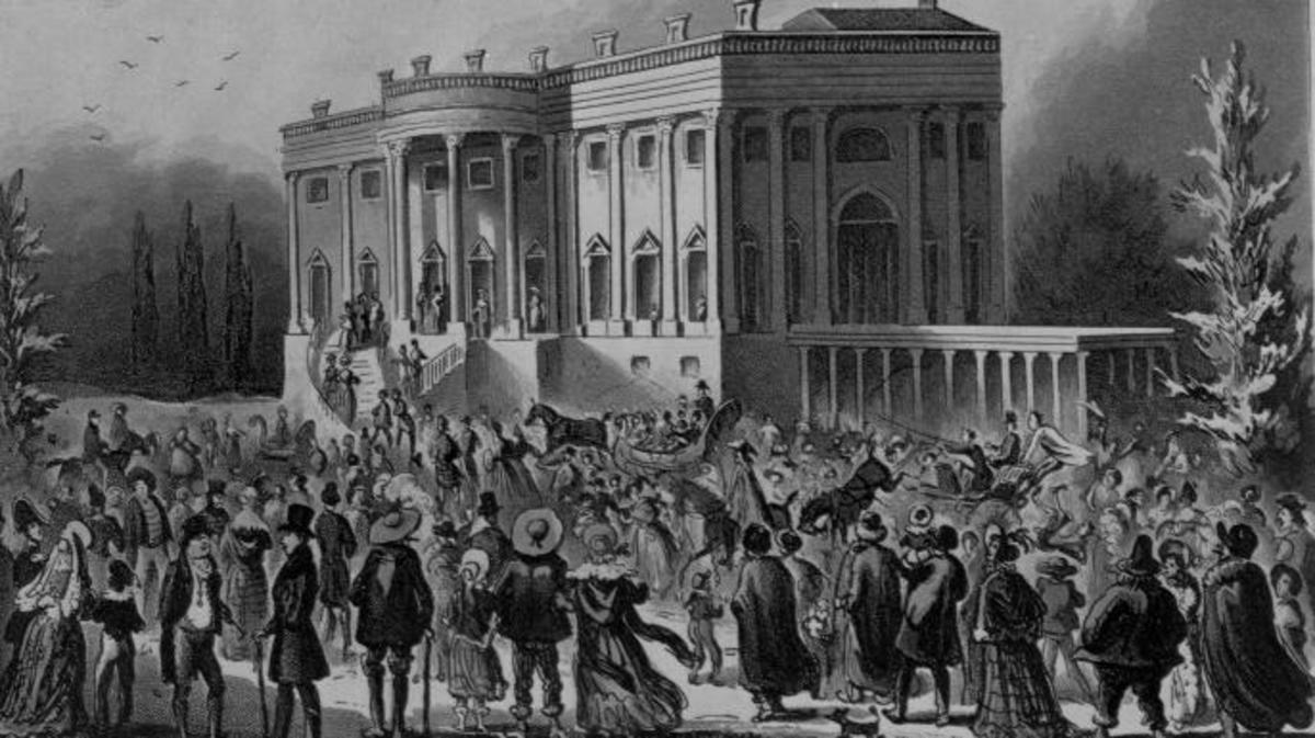 A mob gathers outside the White House during Andrew Jackson's first inaugural reception.