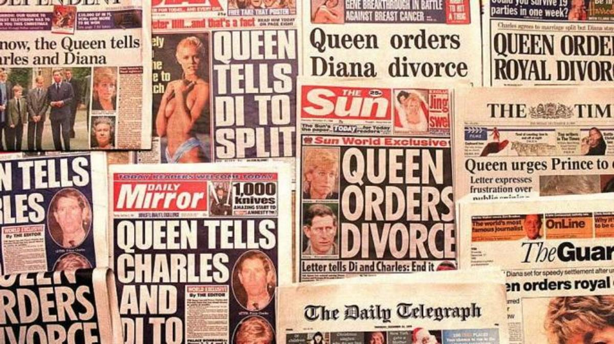 National newspapers blast headlines on December 21, 1995 with news of the Queen's orders that Charles and Diana divorce.