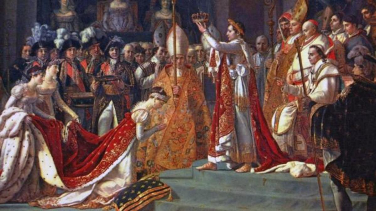 Josephine kneels before Napoleon during his coronation at Notre Dame. (Credit: Public Domain)