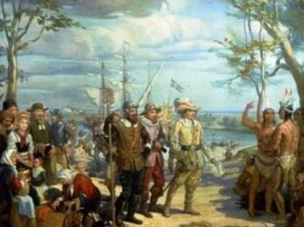 "Peter Minuit's ""purchase"" of Manhattan, May 1626."