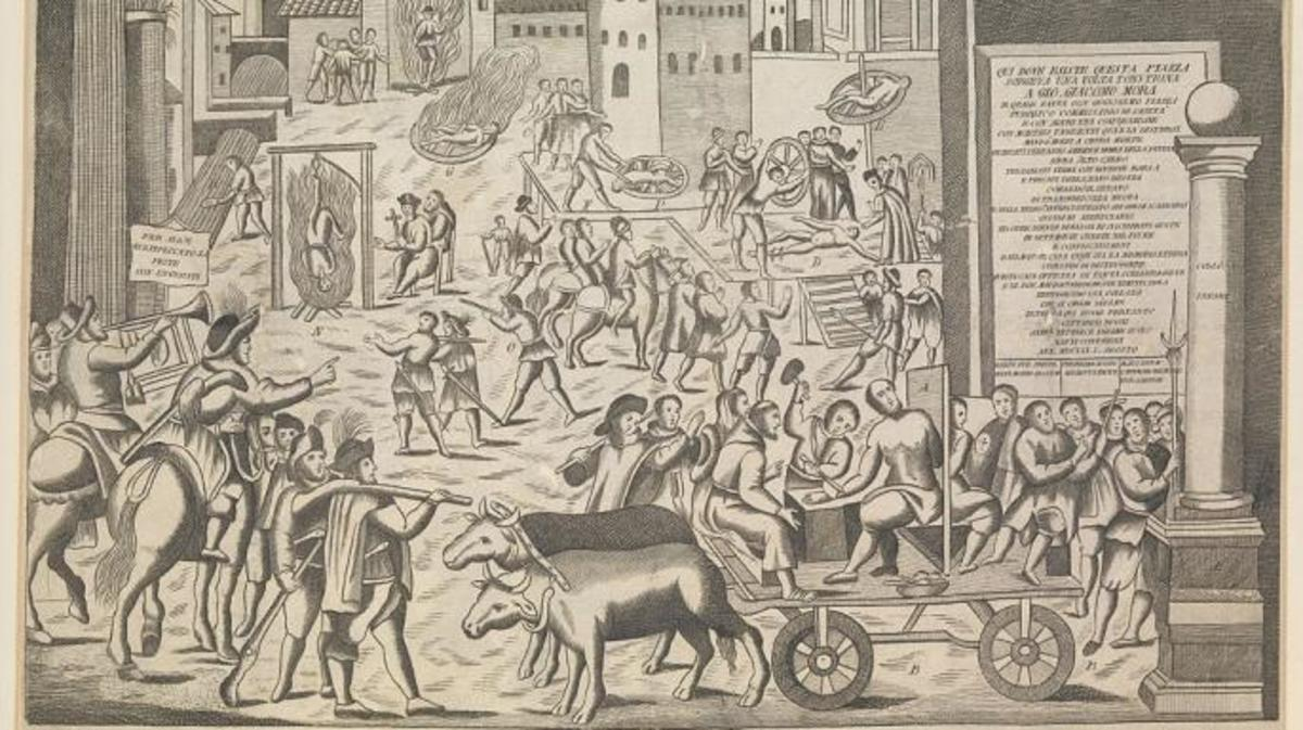 Drawing of the Great Plague in Milan