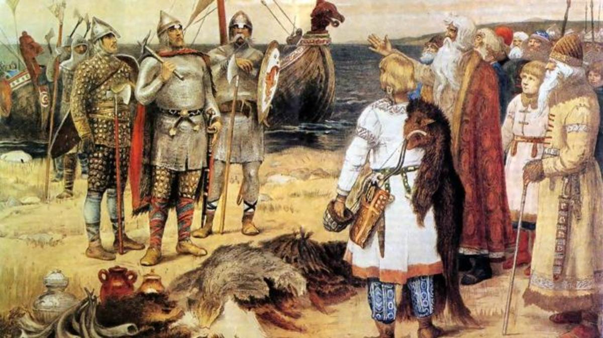 Painting of The Invitation of the Varangians: Rurik and his brothers arrive in Staraya Ladoga.