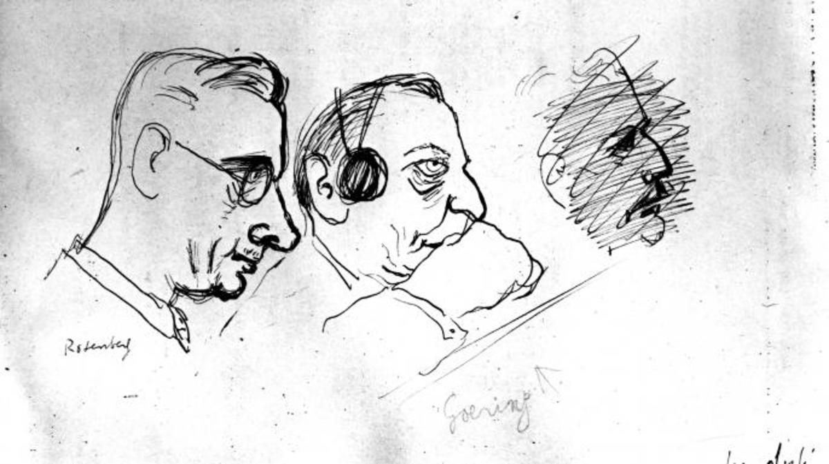 Drawings from the Nuremberg Trials o fRosenberg and Goering.
