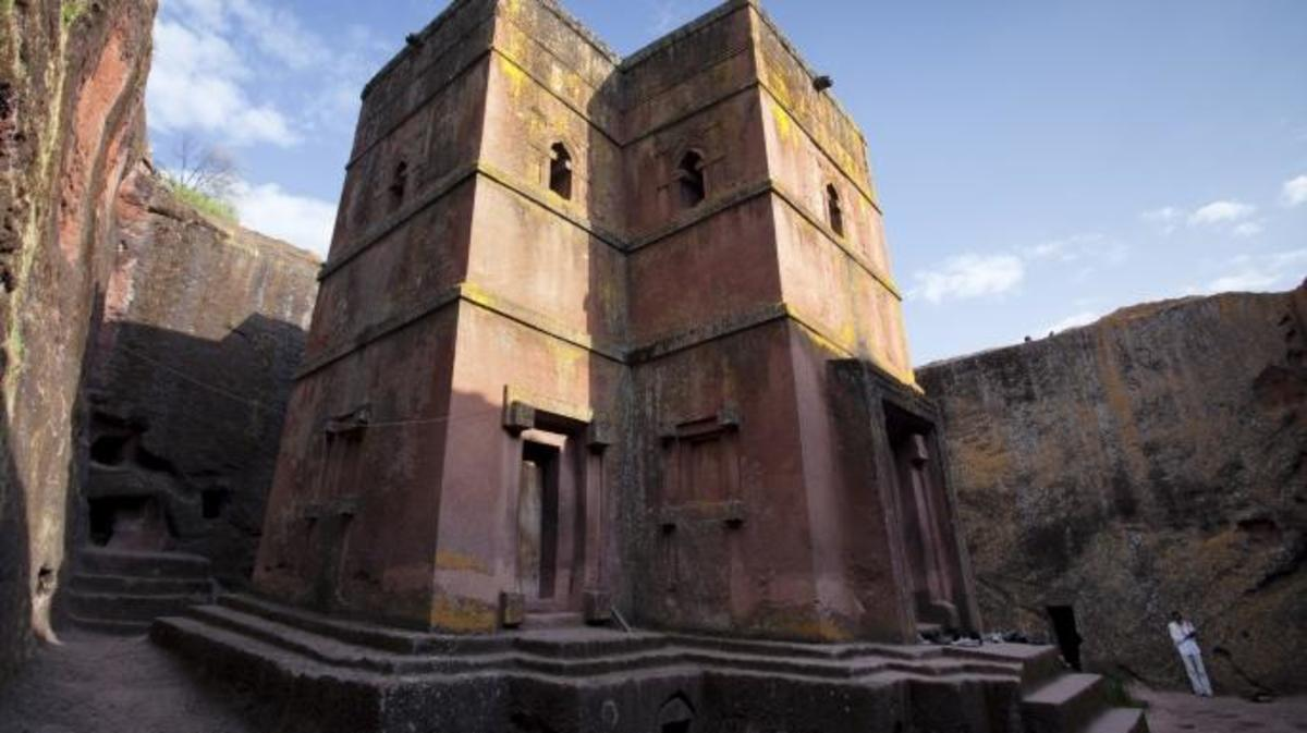 Low angle view of the orthodox rock-hewn church of Saint George, Lalibela. Lalibela is a UNESCO World Heritage Site. (Credit: Santiago Urquijo/Getty Images)