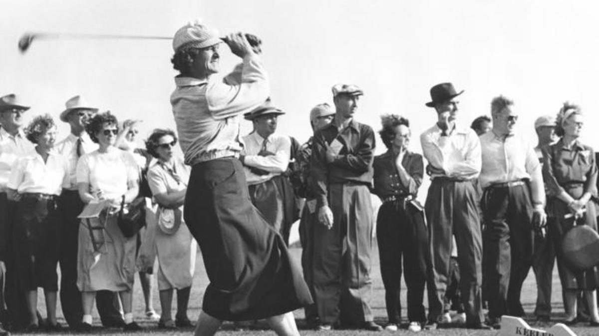 Babe Didrikson driving off the tee in a golf tournament. (Credit: Underwood Archives/Getty Images)