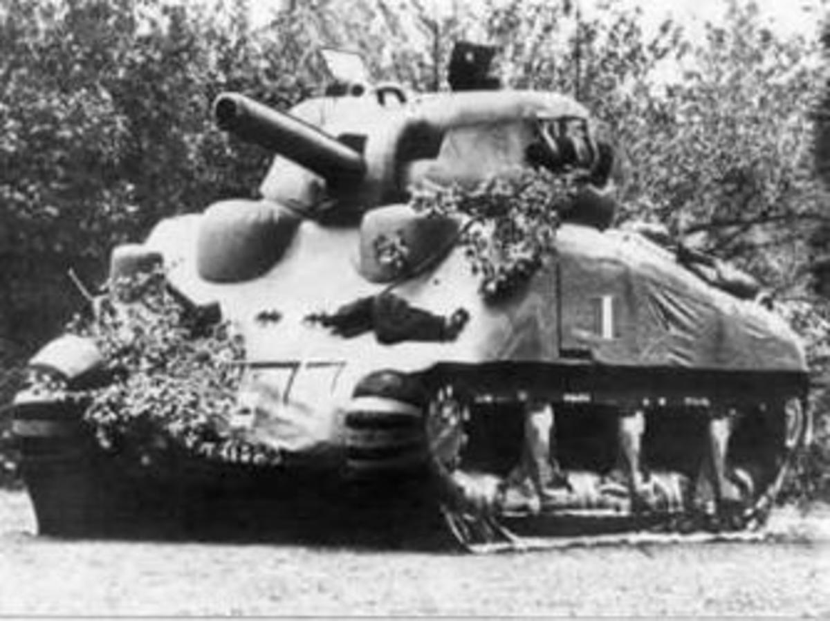 An inflatable dummy tank, modeled after the M4 Sherman. (Credit: Public Domain/United States Army)