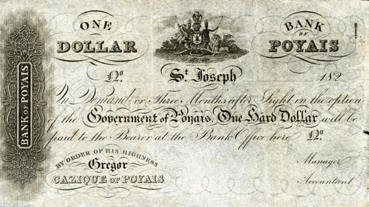 One of MacGregor's phony Poyais dollars. (
