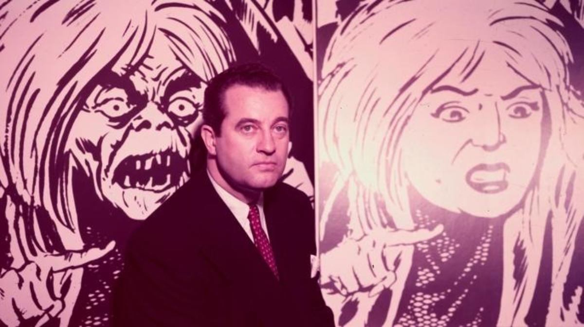 Charles F. Murphy, poses in front of two illustrations showing the changes in a comic strip character due to the comic book code.